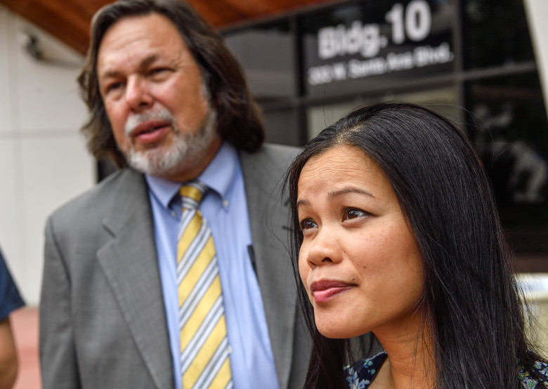 Tina Wu, sister of Danny Pham, with her attorney Michael Guisti, talks with the media in Santa Ana, California, on Monday, July 24, 2017. Danny Pham, who was serving a 180-day sentence for car theft, was killed in his jail cell on July 3. (Photo by Jeff Gritchen, Orange County Register/SCNG)